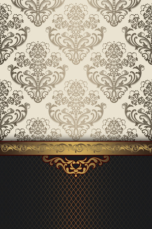 ornamental background: Vintage background with floral patterns and decorative gold border. Vintage invitation card design.
