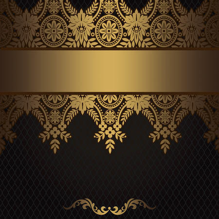 gold floral: Decorative vintage background with gold floral border. Stock Photo