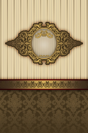 Vintage background with decorative patterns and elegant gold frame.