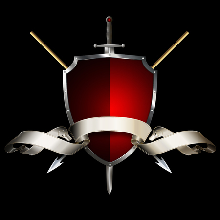 silver ribbon: Red ancient shield with two spears, sword and silver ribbon on black background. Stock Photo