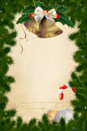 snowflacke: Decorative christmas background with christmas tree,gold bell with bow and other christmas decorations. Merry christmas card design. Stock Photo