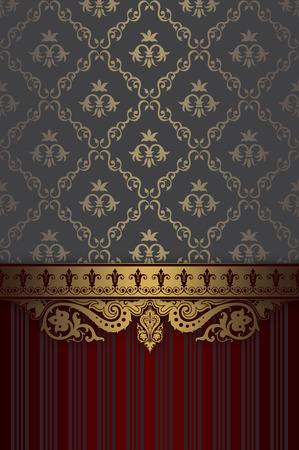 gold ornaments: Vintage background with elegant old-fashioned gold border and patterns. Vintage invitation card design.