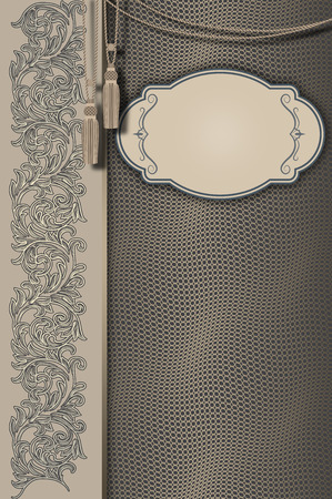 coverbook: Old-fashioned decorative background with vintage ornament and elegant frame.