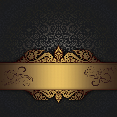 gold ornament: Decorative background with old-fashioned ornament,gold vintage border and copy space for the text.