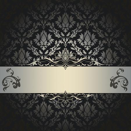 coverbook: Black vintage background with elegant decorative border and old-fashioned floral patterns. Vintage invitation card design. Stock Photo