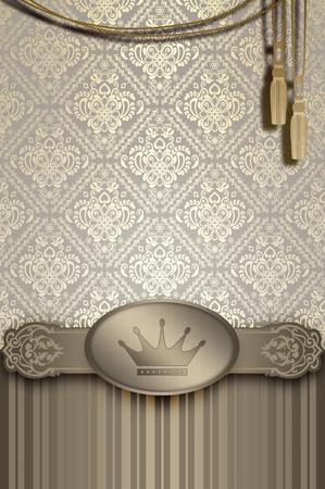 card design: Decorative vintage background with old-fashioned patterns and decorative border. Vintage invitation card design.