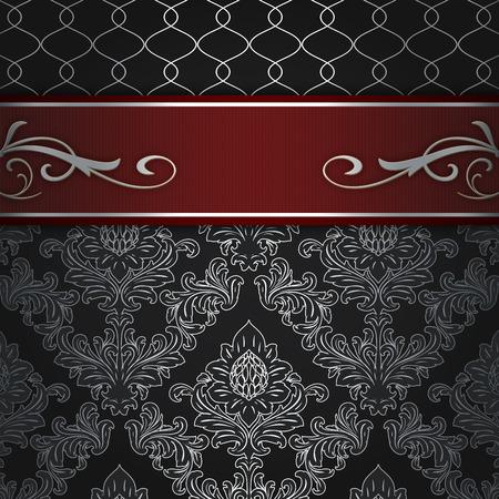 Black decorative background with vintage floral patterns and elegant red border.