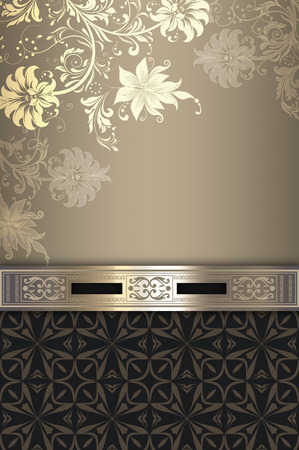 greeting card backgrounds: Decorative vintage background with elegant flowers and decorative border.
