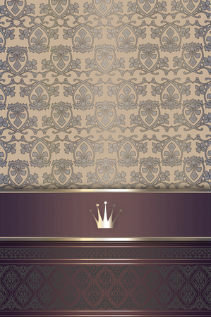 Decorative vintage background with elegant ornament,old-fashioned patterns and crown.. Stock Photo