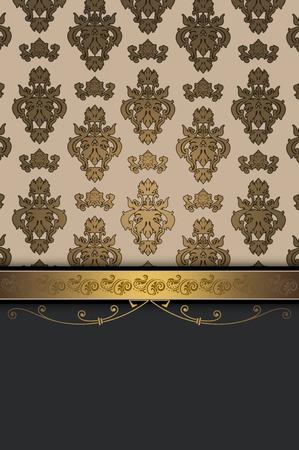 coverbook: Vintage background with decorative border and elegant patterns. Vintage invitation card design.