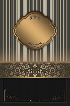 greeting card backgrounds: Vintage background with gold frame and elegant decorative borders. Stock Photo