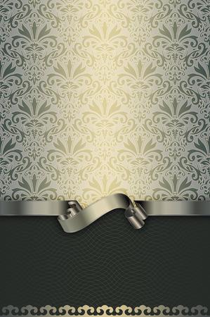Vintage background with floral patterns and elegant silver ribbon. Vintage invitation card design. Stock Photo