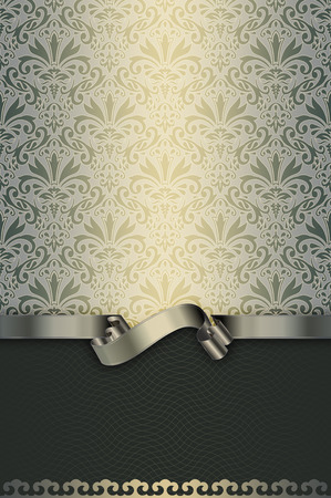 silver ribbon: Vintage background with floral patterns and elegant silver ribbon. Vintage invitation card design. Stock Photo
