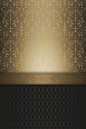 coverbook: Background with vintage ornaments and decorative gold border. Stock Photo