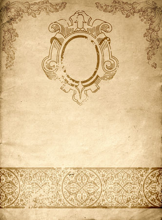 coverbook: Old paper background with decorative vintage patterns. Natural old paper texture.