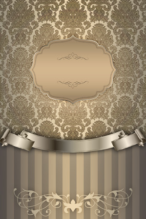 gold ornaments: Decorative background with vintage gold ornament and elegant gold ribbon.