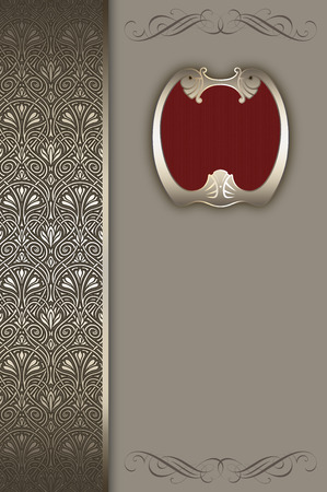 coverbook: Decorative background with vintage frame and ornamental border.