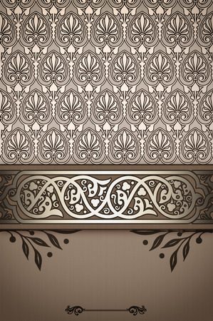 wallpape: Decorative old-fashioned background with elegant ornamental border and patterns. Stock Photo