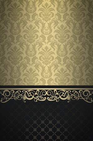 coverbook: Vintage background with floral patterns and elegant ornament. Vintage invitation card design.