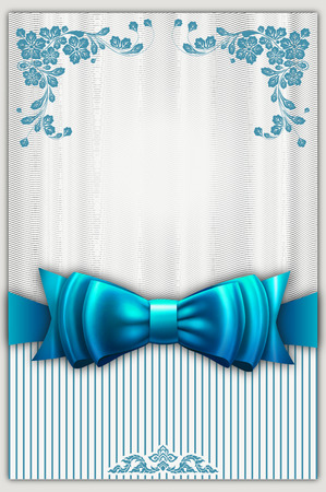 greeting card invitation: Decorative background with floral patterns and elegant blue bow. Gift or greeting card design.