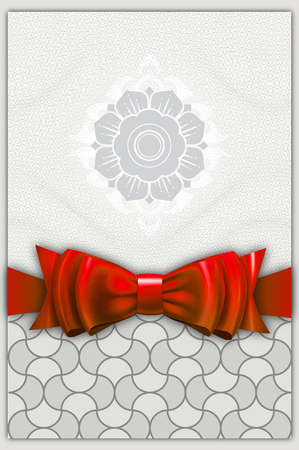 red bow: Decorative background with mosaic and elegant red bow. Gift or greeting card design.