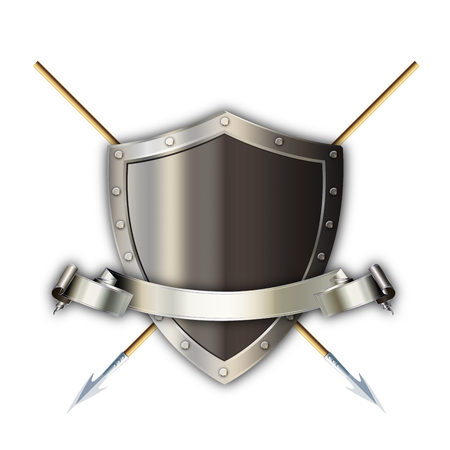 silver ribbon: Medieval silver shield with two swords and silver ribbon on white background.