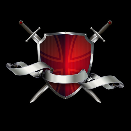 maltese: Red ancient shield with two swords, silver ribbon and maltese cross on black background.