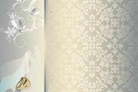 holiday invitation: Decorative wedding background with elegant floral patterns and gold rings.