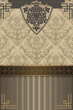 ornamental design: Retro background with decorative patterns and decorative border.