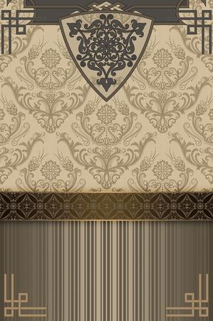 design art: Retro background with decorative patterns and decorative border.