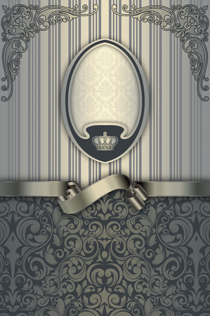 oldfashioned: Vintage background with decorative frame,old-fashioned patterns and silver ribbon.