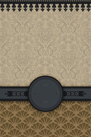 old fashioned menu: Vintage background with decorative patterns,elegant border and frame. Stock Photo