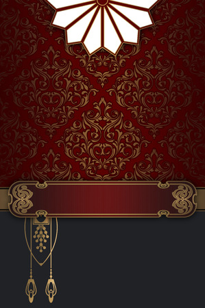 red wallpaper: Vintage background with old-fashioned ornament and elegant gold border. Vintage invitation card design.