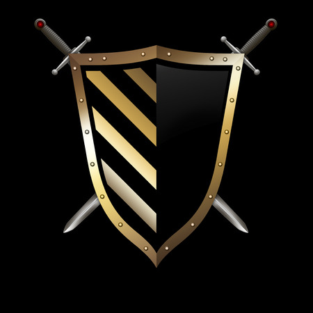 riveted: Gold riveted shield with two swords on black background. Stock Photo