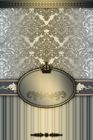 oldfashioned: Decorative background with old-fashioned patterns,elegant frame and border. Vintage invitation card design. Stock Photo