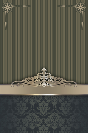 old fashioned menu: Ornate background with decorative vintage border and patterns.