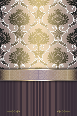 old fashioned menu: Ornate background with vintage floral patterns and elegant ornamental border. Stock Photo