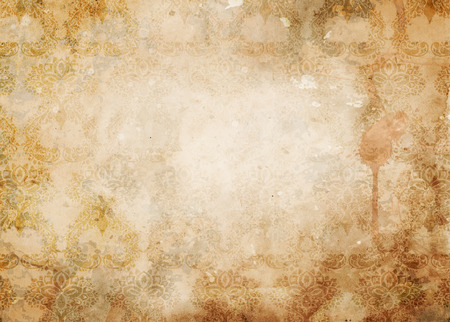 aging: Aging grunge paper background with vintage pattern and coffee stain. Vintage paper for the design. Stock Photo