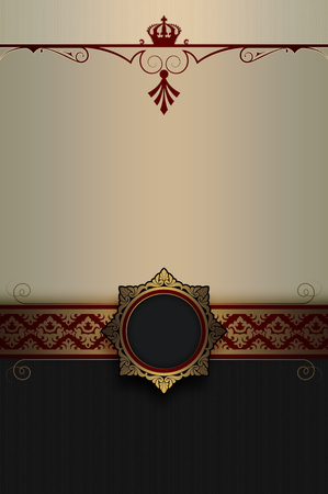 old fashioned menu: Ornate background with decorative ornamental borders and elegant gold frame.