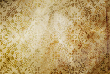 Grunge paper background with old-fashioned floral patterns. Stock Photo