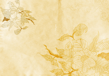 aged paper: Old grunge paper background with image og flowers. Natural aged paper texture.