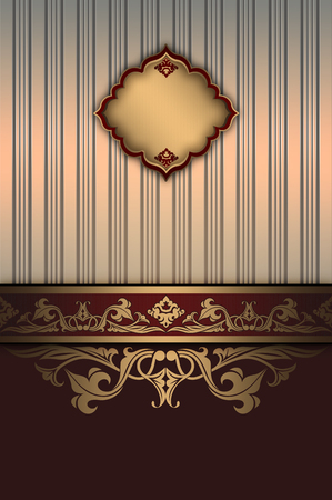 oldfashioned: Ornate vintage background with decorative ornaments and elegant old-fashioned frame. Vintage invitation card or cover-book design.