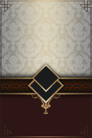 old fashioned menu: Decorative vintage background with ornamental border and elegant patterns. Stock Photo
