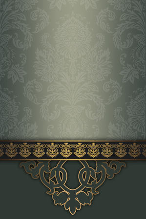 gold ornament: Ornate vintage background with gold ornamental border and decorative floral patterns.