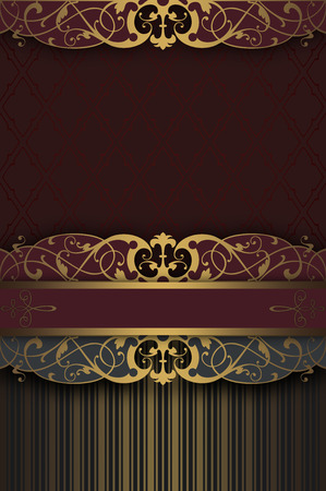 gold ornaments: Decorative vintage background with border and gold ornament. Stock Photo