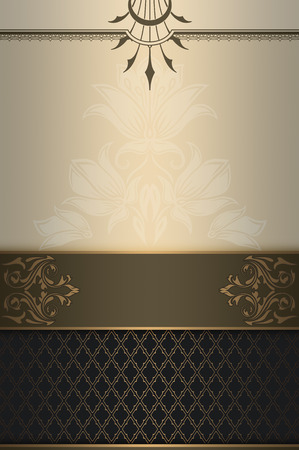 coverbook: Vintage background with decorative border and patterns. Vintage invitation card or cover-book design. Stock Photo