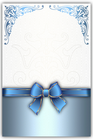 blue bow: Decorative background with blue bow , decorative corners and copy space for the text. Stock Photo