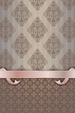 oldfashioned: Vintage background with old-fashioned ornaments and decorative ribbon. Stock Photo
