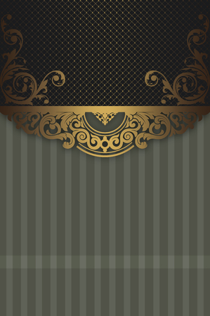 coverbook: Decorative vintage background with gold ornamental border and copy space for the text. Vintage invitation card or cover-book design. Stock Photo