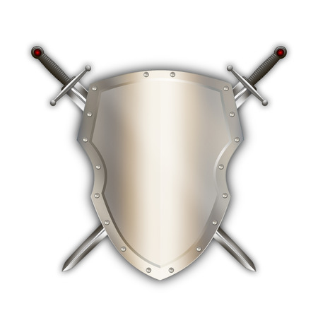 riveted: Medieval riveted shield with two swords on white background.
